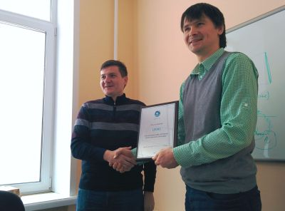 Alexey Ershov being awarded the C3D Reseller & Developer certificate